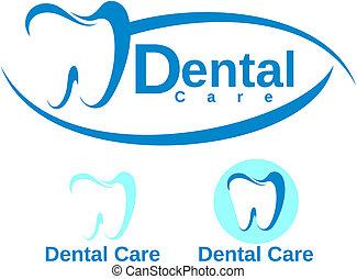 dentaire, ensemble, logotype