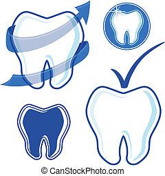dentaire, vecteur, art, agrafe