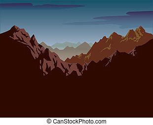 dentelé, montagnes