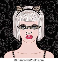dentelle, girl, masque, carnaval