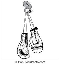 dentelles, gants, pendre, boxe