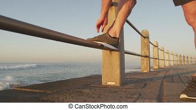 dentelles, personne âgée homme, attachement, sien, chaussure, promenade