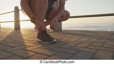dentelles, personne âgée homme, attachement, sien, chaussure, section, bas