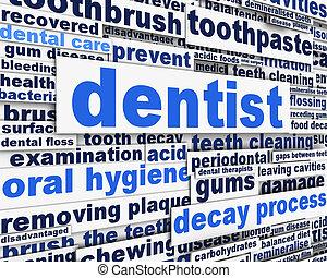 dentiste, concept, message