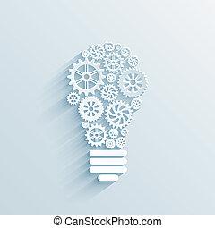 dents, lumière, papier, engrenages, ampoule