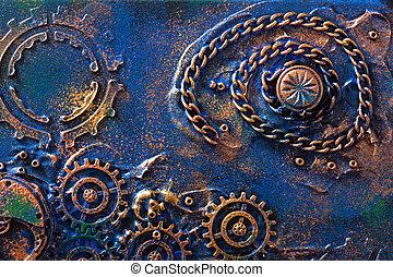 dents, steampunk, fait main, fond, mécanique, roues