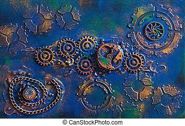 dents, steampunk, fait main, rouage horloge, fond, mécanique, roues