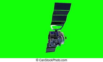 deploys, satellite, panels., vert, écran, solaire