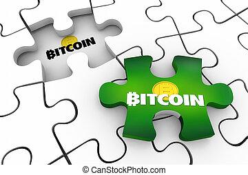 dernier, argent, puzzle, blockchain, bitcoin, illustration, cryptocurrency, numérique, morceau, 3d