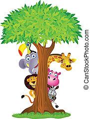 derrière, arbre, dessin animé, animal, dissimulation