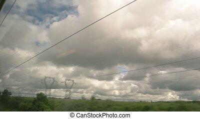 derrière, ciel, fenêtre, train.