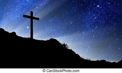 derrière, croix, étoiles