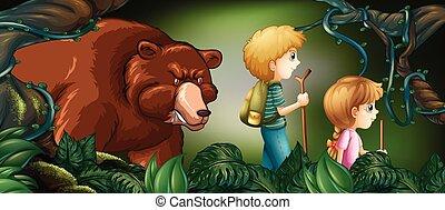 derrière, profond, randonnée, ours, forêt, gosses, deux