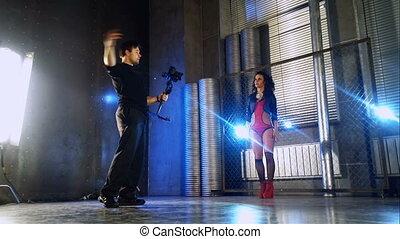 derrièrede la scène, vidéo, shooting.