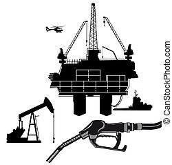 derrick, huile, pump.eps, production