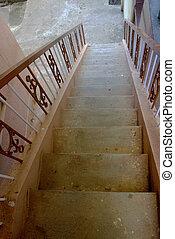 descente, vue, escalier