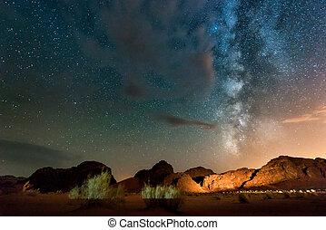 desert., nuit, jordanie, rhum wadi