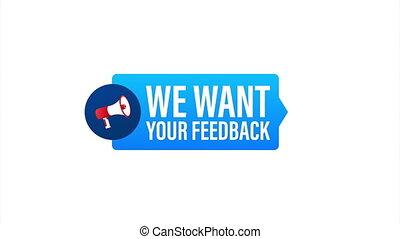 design., banner., nous, main, toile, ton, stockage, porte voix, vouloir, feedback., illustration., tenue