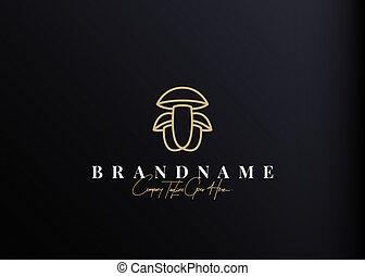 design., champignon, simple, icône, illustration, gabarit, ligne, logo, monoline, conception, vecteur, vendange