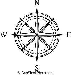 design), compas, vecteur, (retro, icône