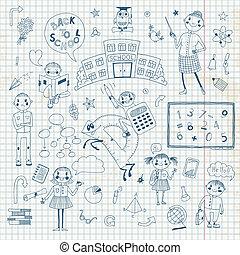 design., dessiné, école, ensemble, main