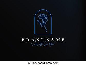design., féminin, gabarit, icône, illustration, ligne, logo, tournesol, monoline, conception, vecteur, vendange