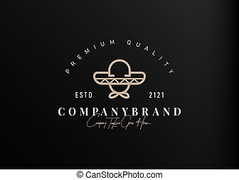 design., simple, icône, illustration, gabarit, chapeau, ligne, logo, mexicain, monoline, conception, vecteur, vendange