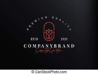 design., simple, résumé, icône, illustration, gabarit, rose, ligne rouge, logo, monoline, conception, vecteur, vendange