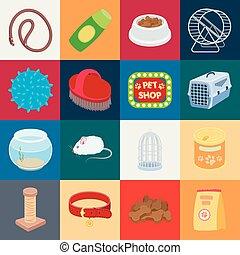 design., vecteur, animaux, marchandises, chouchou, dessin animé, ensemble, toile, stockage, collection, symbole, icônes, illustration., magasin