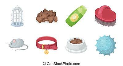 design., vecteur, animaux, marchandises, chouchou, ensemble, toile, stockage, collection, symbole, icônes, illustration., magasin