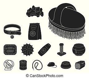 design., vecteur, animaux, noir, marchandises, chouchou, ensemble, toile, stockage, collection, symbole, icônes, illustration., magasin