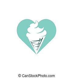 design., vecteur, crème, cône, gaufre, logo., glace, amour, logo