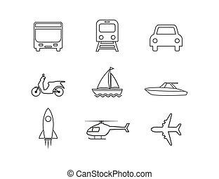 design., vecteur, set., plat, transport, illustration, icônes