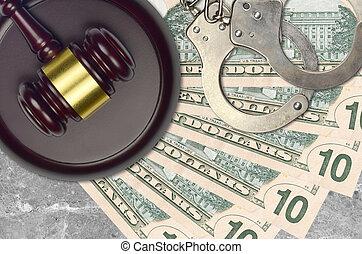desk., dollars, nous, procès, impôt, 10, action éviter, juge cour, marteau, police, concept, ou, judiciaire, menottes, factures, bribery.
