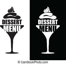 dessert, fond, menu