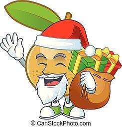 dessert, longan, cadeau, santa, frais, delicious., dessin animé