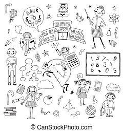 dessiné, école, mettez stylique, main
