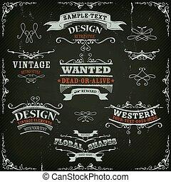 dessiné, bannières, rubans, occidental, main