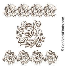 dessiné, baroque, éléments, main