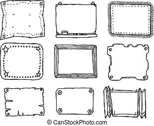 dessiné, cadre, vecteur, ensemble, main