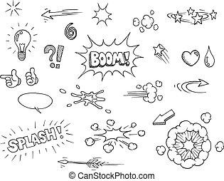 dessiné, comique, éléments, main