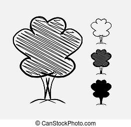 dessiné, croquis, arbre., illustration, main