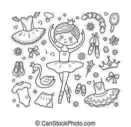 dessiné, cygne, tutu, ballerine, ballet, illustration, remettre ensemble, crown., pointes, isolé, peu, vecteur, griffonnage, robe, style, accessories.