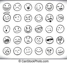 dessiné, emoticons, main