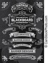 dessiné, ensemble, bannière, main, tableau noir