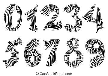 dessiné, ensemble, nombres, main