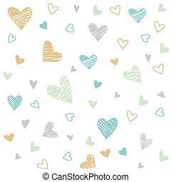 dessiné, fond, cœurs, coloré, main
