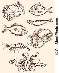 dessiné, fruits mer, main, icônes