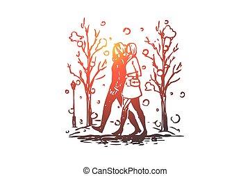 dessiné, isolé, main, hiver, femmes, parc, concept., saison, marche, vector.