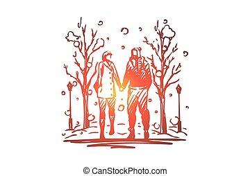 dessiné, isolé, main, hiver, parc, couple, concept., amour, marche, vector.